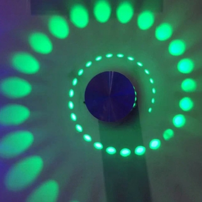 Spiral Pattern Karaoke Room Wall Light Metallic Modern Color-Changing LED Sconce Lighting Fixture in Chrome