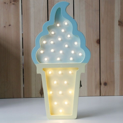 Wood Ice Cream Mini Wall Light Kit Cartoon Blue-Yellow/Pink-Blue/Pink-White LED Night Stand Lamp for Kids Room