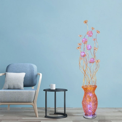 Aluminum Vase and Plant Floor Lamp Art Deco LED Bedroom Stand Up Light in Red/Yellow/Blue