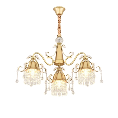 Carillon Iron Down Lighting Pendant Postmodern 3-Head Bedroom Chandelier Lamp in Gold with Crystal Fringe