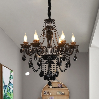 Cascading Crystal Black Chandelier Candle Style 6 Lights Vintage Pendant Light Fixture