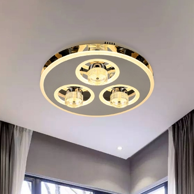Circular Stainless Steel Flush Mount Simple Bedroom LED Ceiling Light in Nickel with Crystal Shade