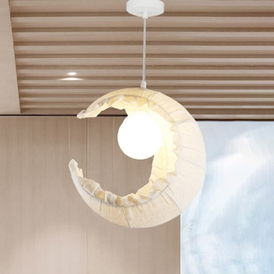 Flaxen Moon Suspension Light Nordic 1-Light Fabric Hanging Lamp Fixture with Globe Rattan Shade