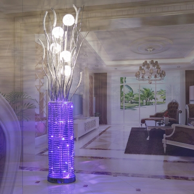 Setaria and Vase Living Room Stand Up Light Art Deco Aluminum Wire LED Silver Floor Lamp