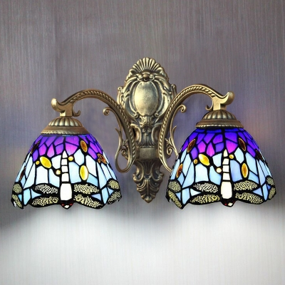 Tiffany Bowl Wall Light Baroque Style 2 Light Wall Sconce in Bronze Finish, 16