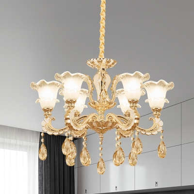 Beautifulhalo coupon: 1 Bulb Frosted Glass Suspension Light Mid-Century Gold Flower Dining Room Chandelier Lamp