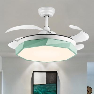4 Blades Acrylic Geometric Pendant Fan Light Modernism LED Semi-Flush Ceiling Lamp in White/Grey/Pink, 42
