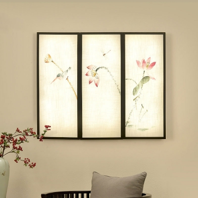 Chinese Lotus Ink Painting Wall Sconce Fabric Family Room LED Mural Light Fixture in Black