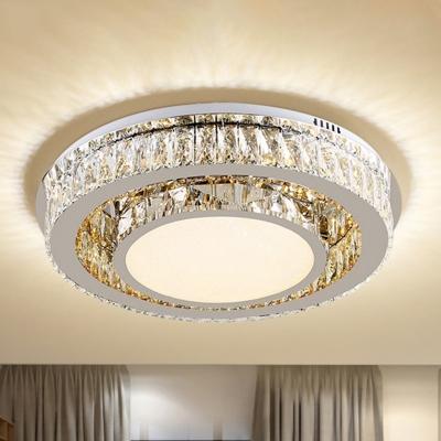 Crystal Circular LED Flush Light Minimalistic Bedroom Ceiling Mount Lamp in Nickel