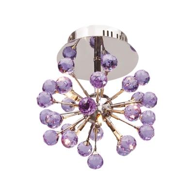 Faceted Crystal Orbs Purple Flushmount Sputnik 6 Bulbs Modernist Semi Flush Mount Ceiling Chandelier