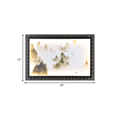 Fountain/Mountain LED Wall Mural Light Asia Fabric Black Wall Mounted Light Fixture for Home Decor