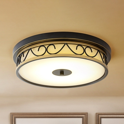 Round Ivory Glass Ceiling Lamp Countryside Bedroom LED Flush Mount Recessed Lighting with Scroll Cage in Black