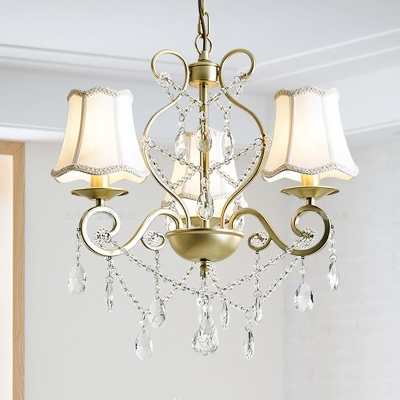 Scalloped Flared Fabric Drop Lamp Countryside 3 Lights Dining Room Chandelier in Gold with Scroll Arm and Crystal Accent