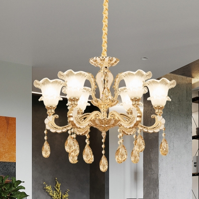 1 Bulb Frosted Glass Suspension Light Mid-Century Gold Flower Dining Room Chandelier Lamp