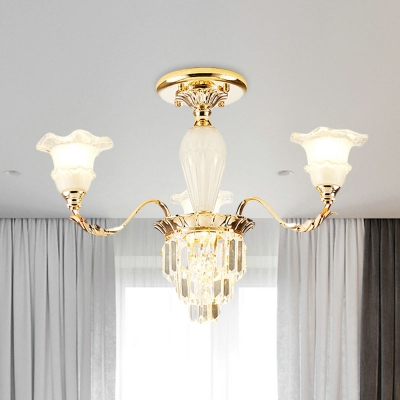 3/6 Heads Crystal Semi Mount Lighting European Style Gold Flower Shade Bedroom Flush Light Fixture
