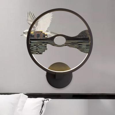 3D Lake Scene Circular Mural Wall Light Asia Resin Black LED Wall Mount Lamp for Living Room