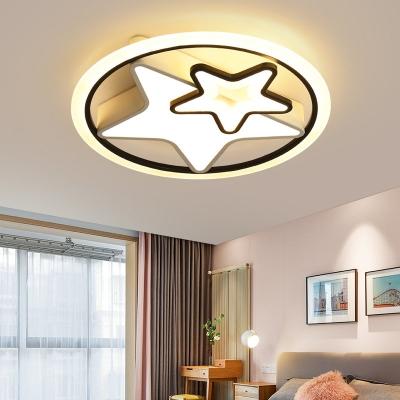 Acrylic Star Ceiling Flushmount Lamp Nordic Black and White LED Flush Light Fixture