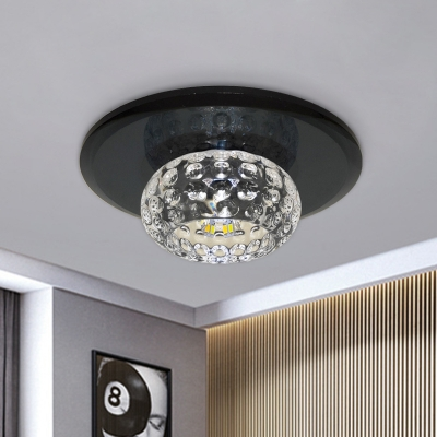 Clear Crystal Circle Flush Light Fixture Simple LED Black Flush Mounted Lamp for Hallway