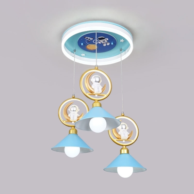 Conic Shade Kids Bedroom Multi-Pendant Metal 3 Heads Cartoon Ceiling Hang Fixture with Moon and Astronaut Deco in Blue