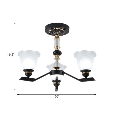 Countryside Floral Shade Pendulum Lamp 3/6/8-Head White Glass Up Hanging Chandelier in Black