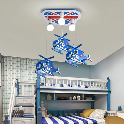 Helicopter Cluster Pendant Light Cartoon Metallic 6-Head Blue Suspension Lamp for Boys Bedroom