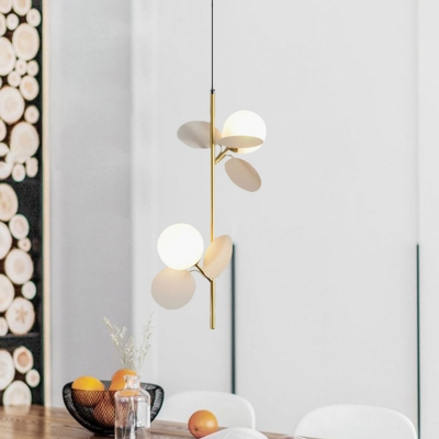 Kids 2 Bulbs Branch Ceiling Chandelier with Opal Frosted Glass Shade Grey/White/Yellow and Pink Orb Pendulum Light