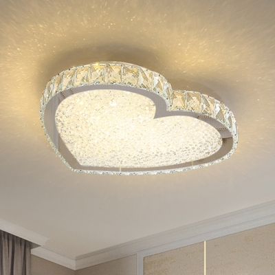 Minimalist Heart Shaped Flush Light Crystal LED Ceiling Mount Light Fixture in Stainless Steel
