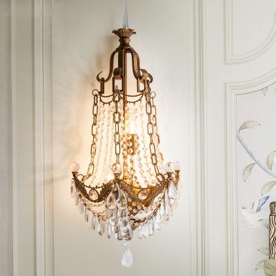Bronze Beaded Sconce Lamp Farmhouse Crystal Drip 3 Lights Living Room Wall Mount Light Fixture