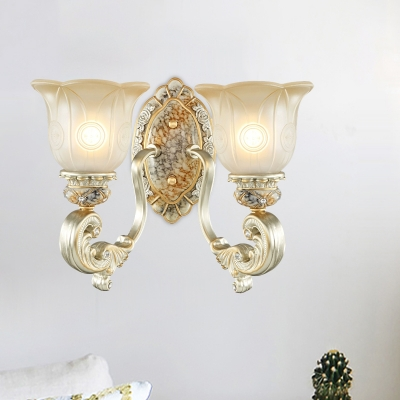 Gold 1/2-Head Wall Light Sconce Traditional Milky Glass Flower Shade Up Wall Lamp Fixture