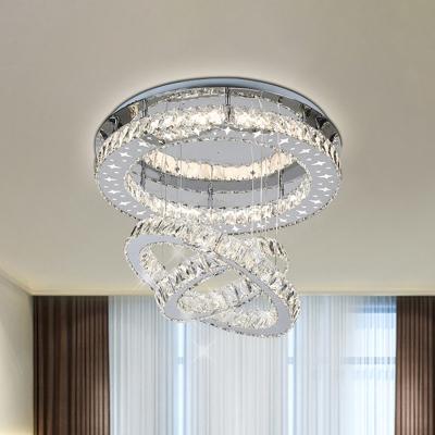 Halo Ring Flush Mount Lighting Modernism Crystal Block LED Bedroom Flushmount in Stainless-Steel