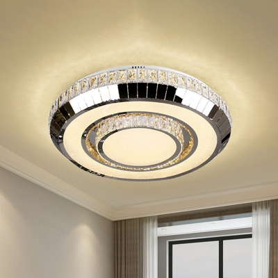 LED Circle Ceiling Lighting Minimalist Stainless Steel Crystal Embedded Flush Mounted Lamp