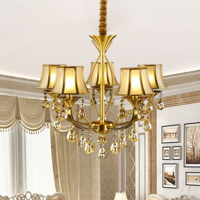 Mid Century Flared Shade Pendant 5 Bulbs Frosted Glass Chandelier with Dangling Crystal, Brass