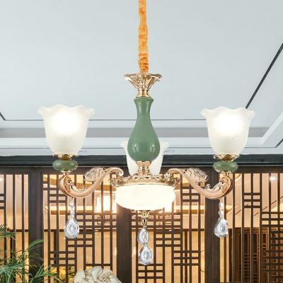 Opal Glass Flower Up Hanging Light Kit Transition Style 3/6 Lights Living Room Ceiling Chandelier in Gold