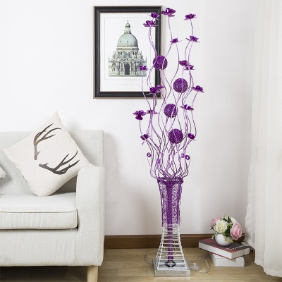 Purple Vase and Florets Floor Lamp Decorative Metallic Wire Living Room LED Stand Up Light