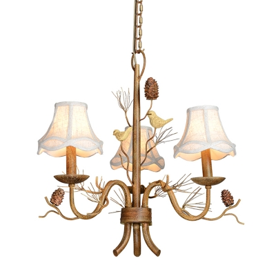 Rustic Scalloped Bell Chandelier 3 Bulbs Fabric Hanging Pendant Light with Bird and Pinecone Detail in Brown