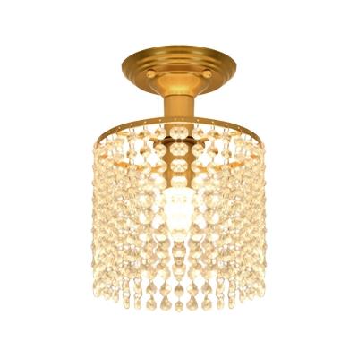 Single Crystal Chain Fringe Flush Light Postmodern Gold Barrel Shaped Bedroom Semi Flush Mount Ceiling Fixture