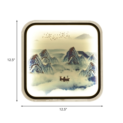 Square Fabric Flush Wall Sconce Asian Grey/Blue LED Wall Mural Lamp with Chinese Landscape Pattern