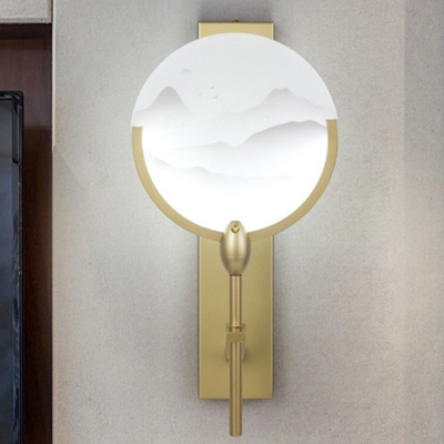 Fan Shaped Bedside Wall Lamp Mountain Patterned Acrylic Chinese Style LED Mural Light in Gold