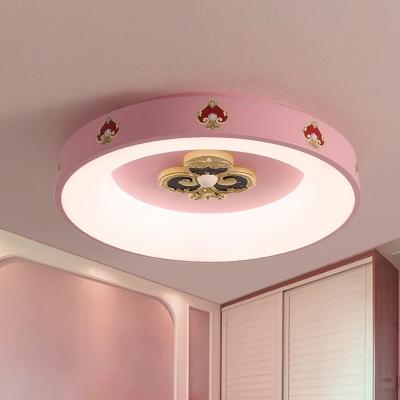 Metal Round Ceiling Mounted Light Kids LED Pink Flushmount Lamp for Girls Bedroom