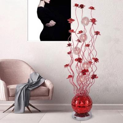 Metallic Wire LED Floor Lamp Art Deco Red Flower Living Room Globe Standing Floor Light, White/Warm Light