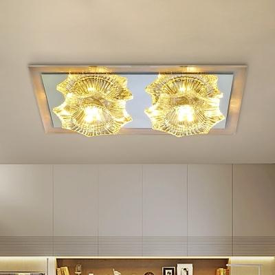Modernist LED Flush Ceiling Light with Clear Crystal Shade Flower Shaped Flush Mount