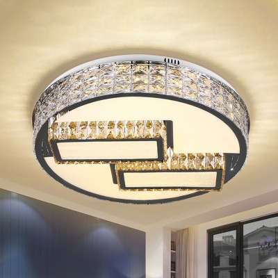Stainless Steel Geometric Ceiling Flush Contemporary Crystal Hotel LED Flush Mount Light