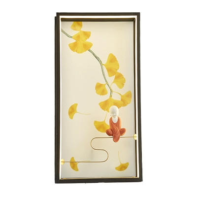 Yellow Ginkgo and Monk Mural Wall Light Japanese Acrylic LED Flush Wall Sconce for Sitting Room