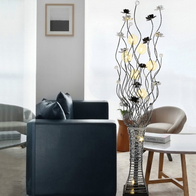 Aluminum Vase and Lotus Stand Up Light Art Deco LED Bedroom Floor Lamp in Black and Silver