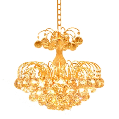 Faceted Crystal Orbs Gold Pendant Tapered 6-Head Antique Chandelier Light for Dining Room