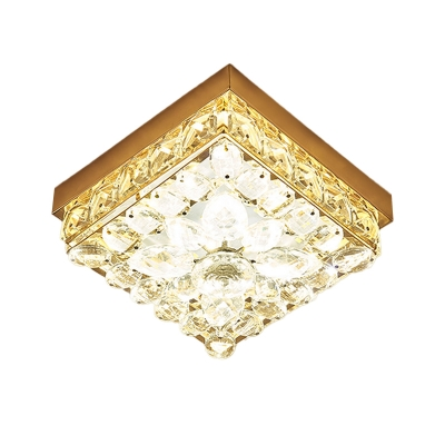 Simple Square Ceiling Lighting Cut-Crystal LED Flush Mounted Lamp in Gold for Balcony