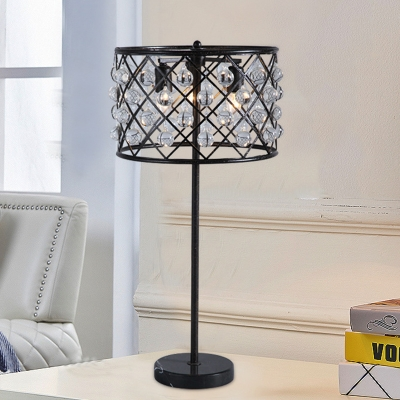 Beautifulhalo coupon: 1 Bulb Crystal Nightstand Lamp Postmodern Black Crisscrossed Drum Cage Living Room Table Light