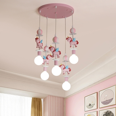 Cartoon Unicorn Cluster Pendant Resin 5 Lights Kids Bedroom Hanging Lamp with Exposed Bulb Design in Pink/Blue