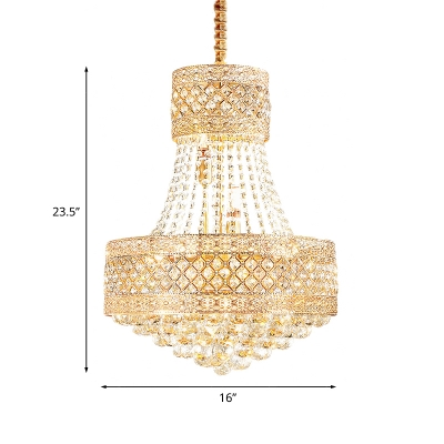 5 Lights Ceiling Chandelier Traditional 2-Layer Round Clear Crystal Pendant Lamp Fixture in Gold