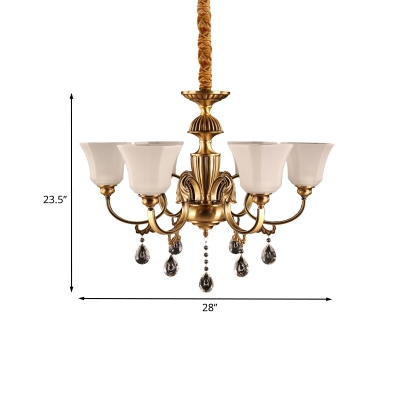 6 Heads Square Bell Up Chandelier Postmodern Brass Cream Glass Hanging Light Fixture